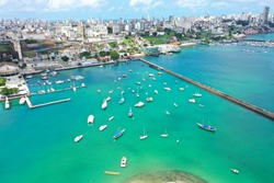 Aerial view of Bay Coastal City of Bahia, Northeast of Brazil. Aerial landscape of Coastal Bay. Tourism Point. Bahian Beach. Northeastern Bay. Bahia, Brazil Northeast. Beach Life. Turquoise Bay Harbor