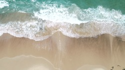 Aerial View of Beach and Waves