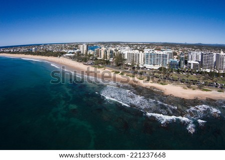 Aerial view of beachfront hotels on sunrise, Mooloolaba, Queensland, Australia #221237668
