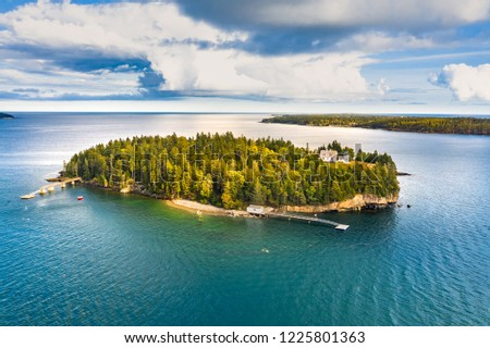 Aerial view of Bear Island. Bear Island and the Bear Island Lighthouse are located in the community of Cranberry Isles, in Acadia National Park, Maine.