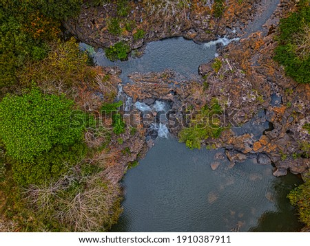 Aerial view of 'Beau Champ' waterfall hidden in the south east of Mauritius island Photo stock ©