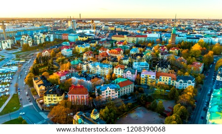 Aerial view of beautiful city Helsinki city. sky ,clouds and colorful buildings . Helsinki, Finland. #1208390068