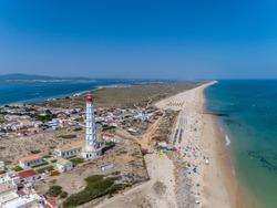 Aerial view of beautiful ilha do Farol (lighthouse island), in Ria Formosa famous nature destination, Algarve coast, Portugal.