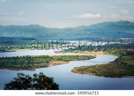 Aerial View of Beautiful Mekong River and Golden Triangle #590956715