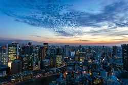 Aerial view of beautiful Osaka night city scape, Japan.