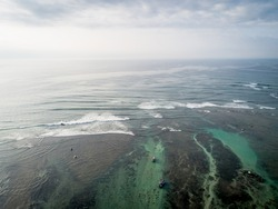 Aerial view of beautiful seascape with fishing boat in the coast