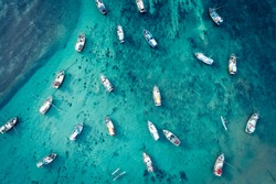 Aerial view of beautiful seascape with fishing boats  in the coast