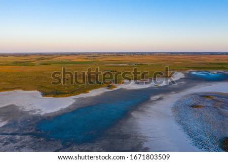Aerial view of beautiful sodic lakes at Kiskunság National Park, Fülöpszállás Hungary. Hungarian name is Kelemen-szék. Stock fotó ©