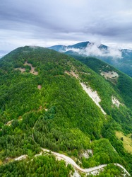 Aerial view of Belintash - ancient sanctuary dedicated to the god Sabazios at Rhodope Mountains, Bulgaria