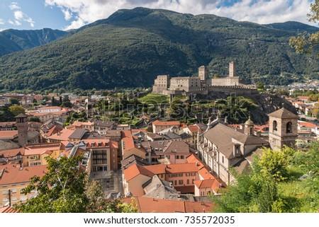 aerial view of Bellinzona town with Castelgrande castle in Switzerland