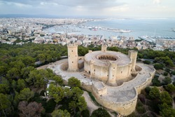 Aerial view of Bellver castle - medieval fortress in Palma de Mallorca, Balearic Islands, Spain