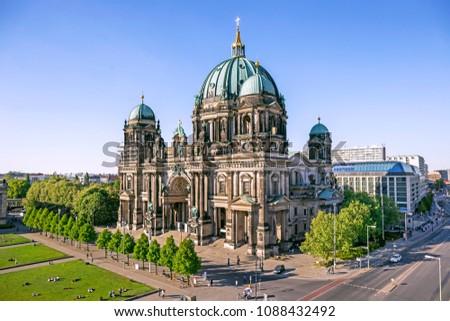 Aerial view of Berlin Cathedral (Berliner Dom) in Berlin, Germany #1088432492