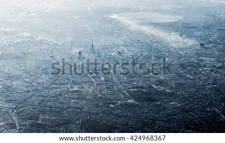 Aerial view of Berlin, Germany, monochromatic in smog and sun #424968367
