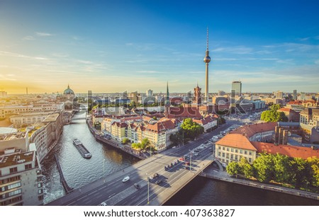 aerial view of berlin skyline...