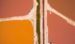 Aerial View of Beta Carotene Producing Ponds at Pink Lake near Port Gregory Western Australia