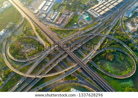 Aerial view of Bhumibol bridge,Aerial view of the highway,expressway and motorway at night, Aerial view interchange of a city, Expressway is an important infrastructure in Thailand.