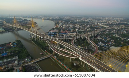 aerial view of bhumibol bridge crossing chaopraya river in bangkok thailand #613087604