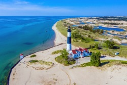 Aerial view of Big Sable Point Lighthouse near Ludington, Michigan; Ludington State Park; Lake Michigan
