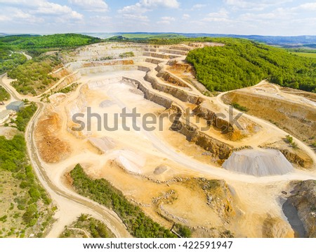 Aerial view of biggest Czech limestone quarry Devil's Stairs - Certovy Schody near Prague. Aerial view of industrial landscape after mining. Industry and environment in Czech Republic, Europe.  Zdjęcia stock ©