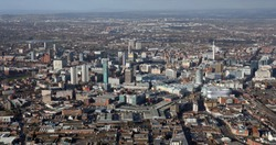 aerial view of Birmingham city centre skyline, UK