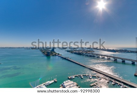 Aerial View of Biscayne Bay and Miami Beach with Marina - stock photo