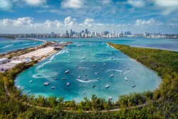 Aerial View of Biscayne Bay and Miami Skyline from Virginia Key
