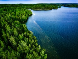 Aerial view of blue lake and green forest on a summer day in Finland.