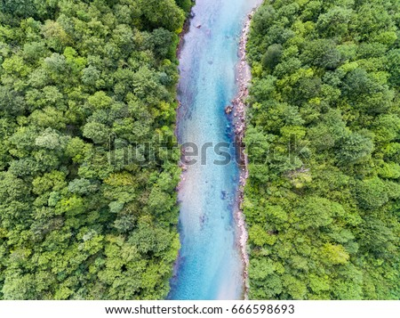 Aerial View Of Blue Mountain River  #666598693
