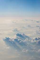 Aerial view of Blue sky and top Cloud view or cloudy of bird eye view from airplane window