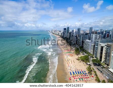Aerial View of Boa Viagem Beach, Recife, Pernambuco, Brazil Foto stock ©