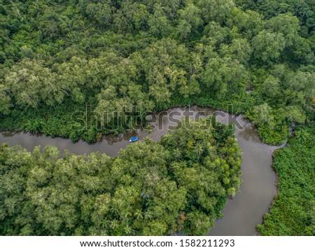 Aerial view of boat in the mangrove Rio Sierpe river in Costa Rica deep inside the jungle Zdjęcia stock ©