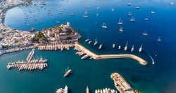 Aerial view of Bodrum on Turkish Riviera. View on Saint Peter Castle Bodrum castle and marina