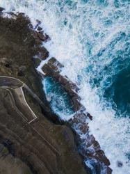 Aerial view of Bogey Hole, Newcastle, Australia.