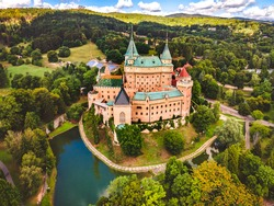 Aerial view of Bojnice medieval castle, UNESCO heritage in Slovakia Slovakia landscape travel. concept. Romantic castle.