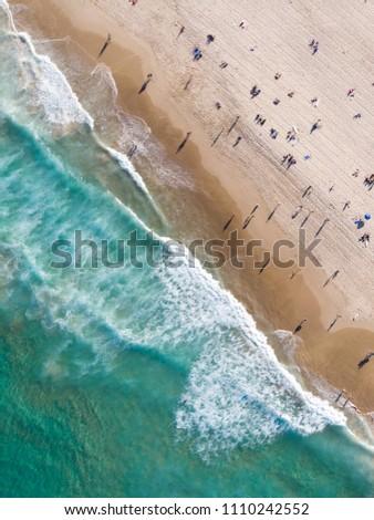 Aerial view of Bondi Beach, Drone shot at Bondi Beach, Sydney