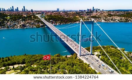 Photo of  aerial view of bosphorus bridge