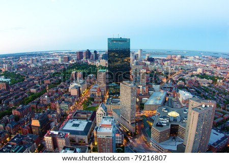 Aerial view of Boston in Massachusetts in the summer season at sunset.
