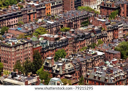 Aerial view of Boston in Massachusetts. The Historical Architecture of Boston.
