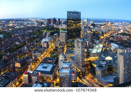Aerial view of Boston in Massachusetts, USA.