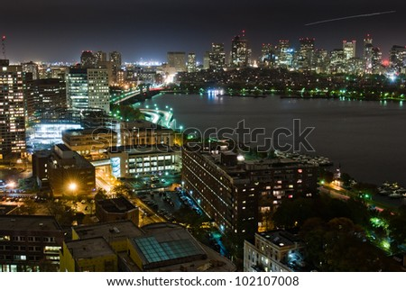 Aerial view of Boston's Back Bay skyline at night