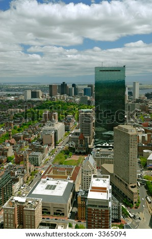 Aerial view of Boston Skyline from Prudential Center to Downtown, including Copley Square, John Hancock Tower, Boston Common and Capitol Hill