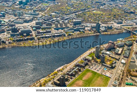 Aerial view of Boston University, Charles River, MIT's dorms