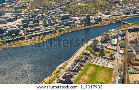Aerial view of Boston University, Charles River, MIT's dorms - stock photo