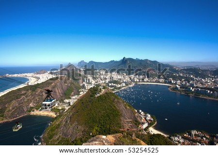 aerial view of botafogo and copacabana with the from the sugar loaf in rio de janeiro brazil #53254525