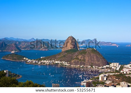 aerial view of botafogo and the sugar loaf in rio de janeiro brazil - stock photo