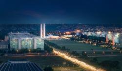 Aerial view of Brasilia at night - Brasilia, Distrito Federal, Brazil