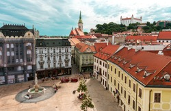Aerial view of Bratislava old town: Bratislava Castle, Main Square and St. Martin's Cathedral