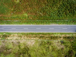 Aerial view of British country road - horizontal
