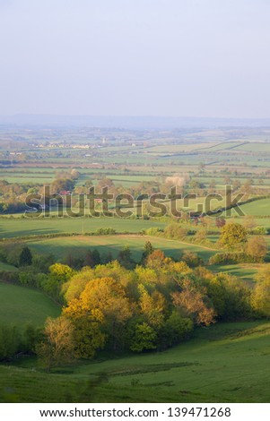 Aerial view of British countryside at sunset stock photo