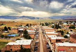 Aerial view of Broadway Street of Philipsburg, Montana, Philipsburg is a town in and the county seat of Granite County, Montana, United States.
